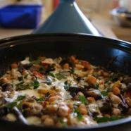 Roasted eggplant, tomato, and chickpea tagine with yoghurt